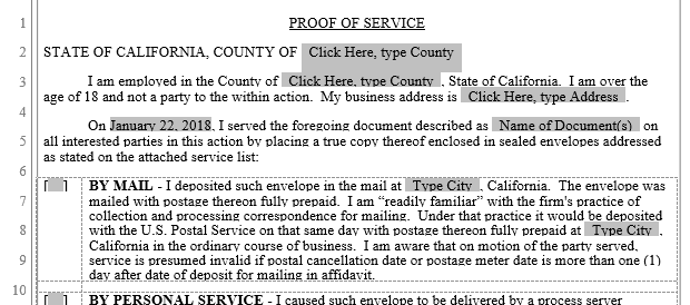 Proof of Service Forms - Service of Process | Word Automation