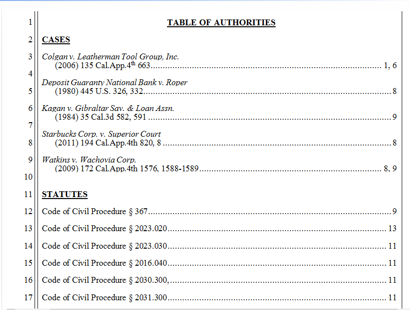 Table Of Authorities In Microsoft Word Example Word