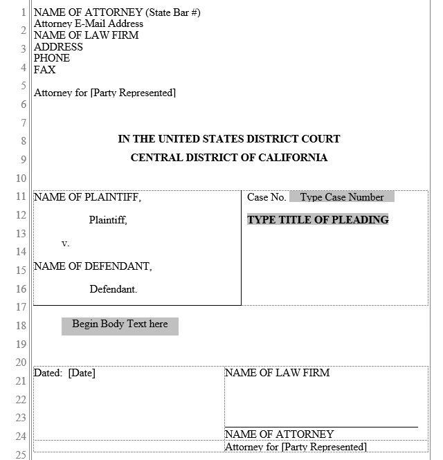 Pleading Form: Central District of California | Word Automation