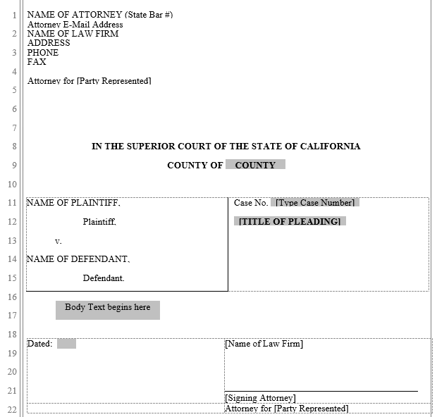 Pleading form california superior court word automation for Legal caption template