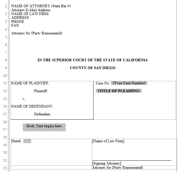 pleading form san diego superior court word automation