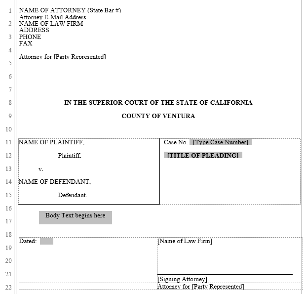 pleading form ventura county superior court word automation