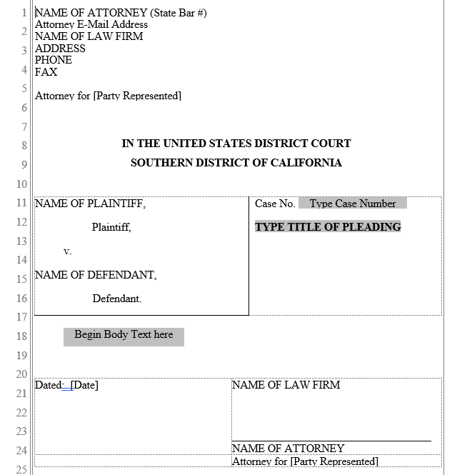 pleading form  southern district of california